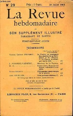 LA REVUE HEBDOMADAIRE ET SON SUPPLEMENT ILLUSTRE L'INSTANTANE TOME VII N°29 - Vicomte Georges D...