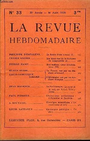LA REVUE HEBDOMADAIRE ET SON SUPPLEMENT ILLUSTRE L'INSTANTANE TOME VIII N°33 - PHILIPPE D'...