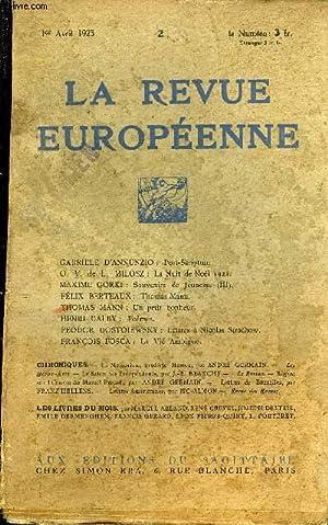 LA REVUE EUROPEENNE TOME I N°2 - GABRIELE D'ANNUNZIO : Post-Scriptum.O. V. de L. MILOSZ : La ...