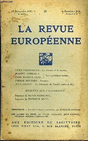 LA REVUE EUROPEENNE TOME VI N°33 -: COLLECTIF