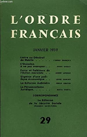 L'ORDRE FRANCAIS N° 29 - Lettre au Général de Gaulle. L'ordre fran&...