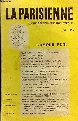 LA PARISIENNE N° 34 - JEAN-BAPTISTE DARDEL. L'art et la manière.YVON BELAVAL. Gu&...