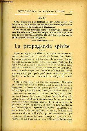 REVUE SCIENTIFIQUE ET MORALE DU SPIRITISME 5e ANNEE N°6 - Avis. — La propagande spirite. ...