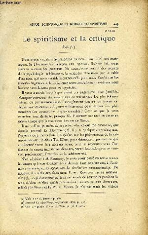 REVUE SCIENTIFIQUE ET MORALE DU SPIRITISME 15e ANNEE N°8 - Le Spiritisme et la critique. Gabriel ...