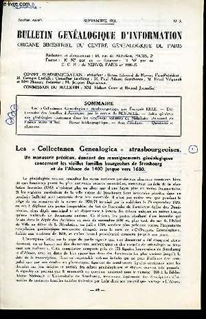 """BULLETIN GENEALOGIQUE D'INFORMATION - N°5 - septembre 1961 / Les """"collectanea ..."""