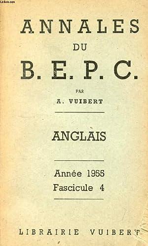 ANNALES DU BEPC, ANGLAIS, FASC. 4, 1955: VUIBERT A.