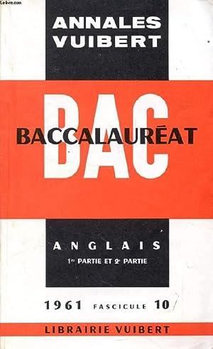 ANNALES DU BACCALAUREAT, ANGLAIS, FASC. 10, 1961: COLLECTIF