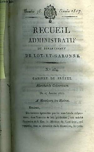 RECUEIL ADMINISTRATIF DU DEPARTEMENT DE LOT ET GARONNE N°78 ANNEE 1817 - CABINET DU PREFET ...