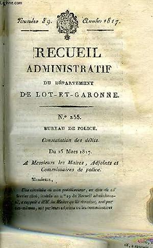 RECUEIL ADMINISTRATIF DU DEPARTEMENT DE LOT ET GARONNE N°89 ANNEE 1817 - BUREAU DE POLICE ...