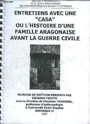 """ENTRETIENS AVEC UN """"CASA"""" OU L'HISTOIRE D'UNE: FAOTTO VIRGINIE"""