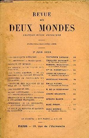 REVUE DES DEUX MONDES XCIVe ANNEE N°3 - LES COLLOQUES D'ÉRASME. VICTORIEN SARDOU. LE ...