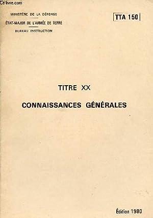 TITRE XX CONNAISSANCES GENERALES / TIRS/ MINES: MINISTRE DE LA