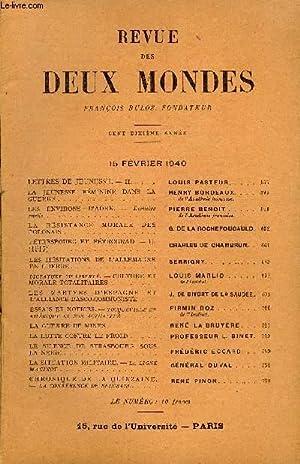 REVUE DES DEUX MONDES CXe ANNEE N°4 - LETTRES DE JEUNESSE. — II. LOUIS PASTEUR.LA JEUNESSE F&...