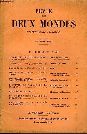 REVUE DES DEUX MONDES CXIe ANNEE N°13 - SUZANNE ET LESJEUNES HOMMES. — Première partie. ...