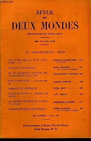 REVUE DES DEUX MONDES CXIIe ANNEE N°22 - SOUVENIRS DE LA CITE VATICANE.   I. François ...