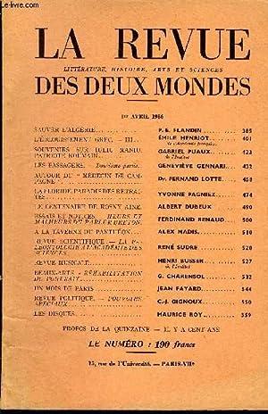 LA REVUE LITTERATURE, HISTOIRE, ARTS ET SCIENCES: COLLECTIF