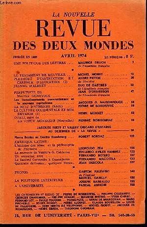 LA NOUVELLE REVUE DES DEUX MONDES N°4: COLLECTIF