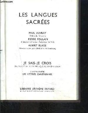 LES LANGUES SACREES- JE SAIS- JE CROIS: AUVRAY PAUL, POULAIN