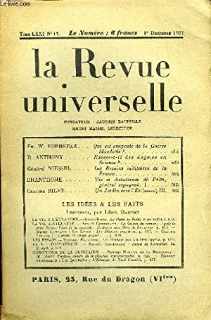 LA REVUE UNIVERSELLE TOME 71 N°17 - Fr. W.FOERSTER. Quiest coupable de la GuerreMondiale ?R. ...