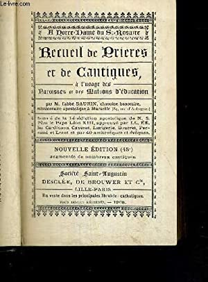 RECUEIL DE PRIERES ET DE CANTIQUES, A: SAURIN ABBE