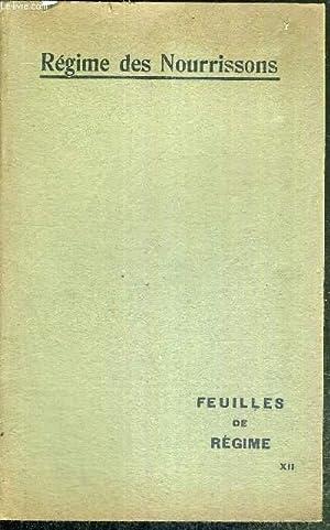 REGIME DES NOURISSONS - FEUILLES DE REGIME: COLLECTIF