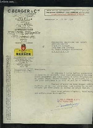 UNE LETTRE DACTYLOGRAPHIEE SIGNEE DE C.BERGER &: COLLECTIF