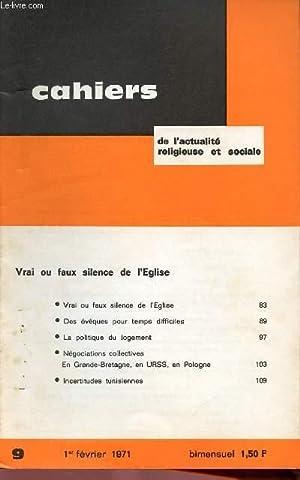 CAHIERS DE L'ACTUALITE RELIGIEUSE ET SOCIALE N°9: COLLECTIF
