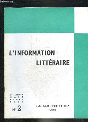 L'INFORMATION LITTERAIRE N°2 MARS AVRIL 1969 -: COLLECTIF