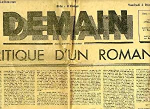 DEMAIN, 2e ANNEE, N° 81, 3 DEC. 1943, CRITIQUE D'UN ROMAN: COLLECTIF