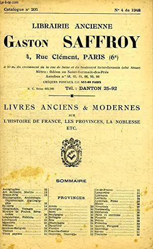 LIBRAIRIE ANCIENNE GASTON SAFFROY, CATALOGUE N° 205, N° 4 DE 1948: COLLECTIF