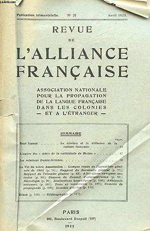 REVUE DE L'ALIANCE FRANCAISE - N°21: COLLECTIF