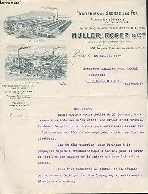 1 LETTRE ANCIENNE - FONDERIES DE BRONZE: MULLER ROGER