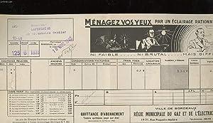 1 - QUITTANCE D'ABONNEMENT - VILLE DE BORDEAUX REGIE MUNICIPALE DU GAZ ET DE L'ELECTRICITE:...