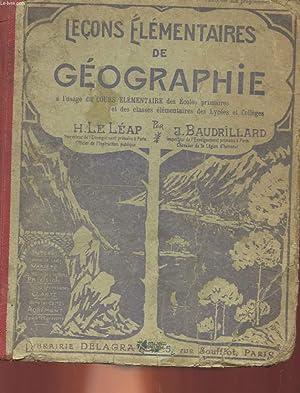 LECONS ELEMENTAIRES DE GEORGRAPHIE CONFORMES AUX PROGRAMMES OFFICIELS A L'USAGE DES COURS ...
