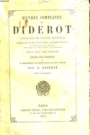 Oeuvres Completes de Diderot. TOME XIII : DIDEROT Denis