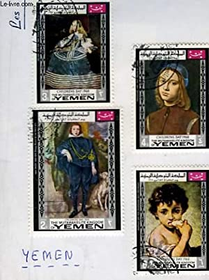 Collection de 5 timbres-poste oblitérés, du Yemen. Children Day 1968