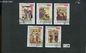 """Collection de 5 timbres-poste oblitérés, de """"The: TIMBRE-POSTE"""