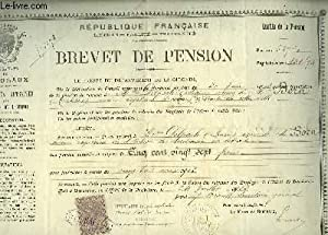 1 Brevet de Pension, délivré à Mme Marie D. veuve de Mr Antoine B., ancien Capitaine d'Octroi, re...