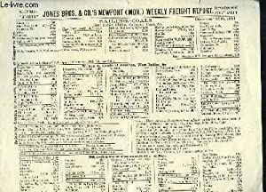 Jones Bros & Co's Newport (Mon.) Weekly Freight Report. Sailing-Coals (Navigation de Charbon).