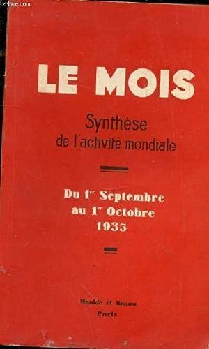 Synthèse de l'activité mondiale. Du 1er Septembre au 1er Octobre 1935 - Politique : L'...