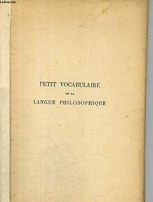Petit vocabulaire de la lalngue philosophique: CUVILLIER Armand