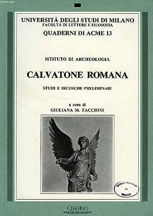 CALVATONE ROMANA, STUDI E RICERCHE PRELIMINARI: FACCHINI GIULIANA M. & ALII