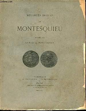 Mélanges inédits de Montesquieu - Publiés par: Montesquieu