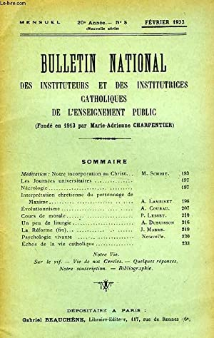 BULLETIN NATIONAL DES INSTITUTEURS ET DES INSTITUTRICES CATHOLIQUES DE L'ENSEIGNEMENT PUBLIC, ...