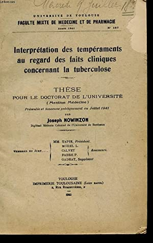 THESE POUR LE DOCTORAT MENTION MEDECINE ANNEE 1941 N°187 - INTERPRETATION DES TEMPERAMENTS AU ...