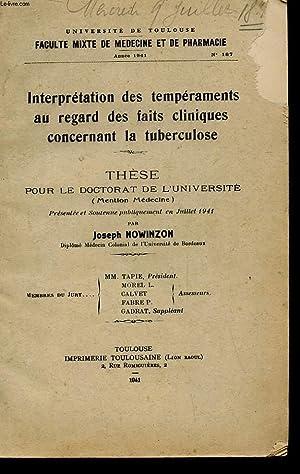 THESE POUR LE DOCTORAT MENTION MEDECINE ANNEE 1941 N°187 - INTERPRETATION DES TEMPERAMENTS AU ...