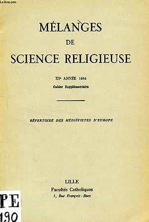 MELANGES DE SCIENCE RELIGIEUSE, XIe ANNEE 1954, CAHIER SUPPLEMENTAIRE: COLLECTIF