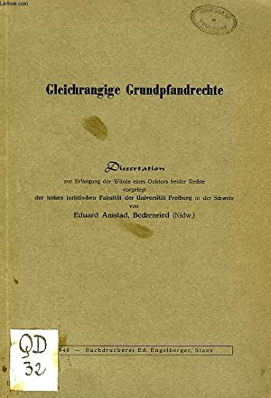 GLEICHRANGIGE GRUNDPFANDRECHTE (DISSERTATION): AMSTAD EDUARD