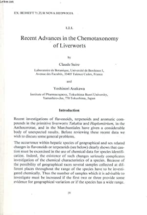 RECENT ADVANCES IN THE CHEMOTAXONOMY OF LIVERWORTS: CLAUDE SUIRE