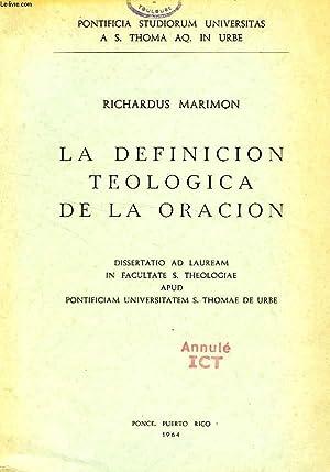 LA DEFINICION TEOLOGICA DE LA ORACION: MARIMON P. RICHARDUS